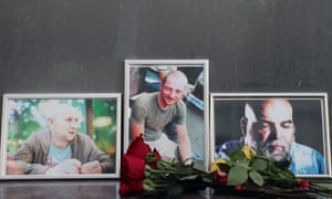 Flowers brought to the Central House of Journalists in Moscow in memory of the three Russian journalists