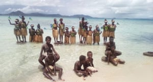 Students attend a climate change protest in Marovo Island, Solomon Islands
