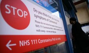 A coronavirus warning sign at St Mary's hospital in London