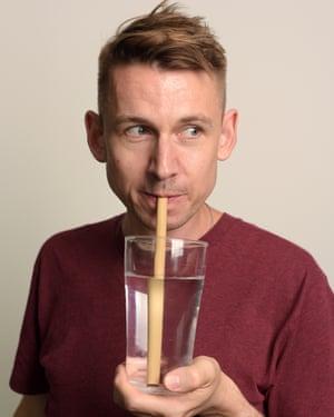 Tim tries a Bamboo straw.