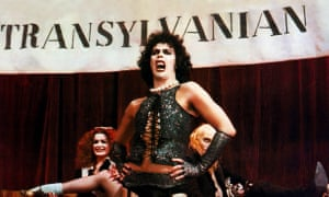 The Rocky Horror Picture Show, 1975, with Patricia Quinn, Tim Curry and Richard O'Brien.