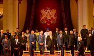 Canada's prime minister, Justin Trudeau, with other Commonwealth heads of state at Buckingham Palace, London