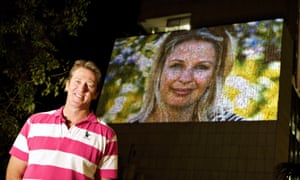Former Australian cricketer Glenn McGrath in front of the McGrath Foundation mosaic, part of the Vivid Sydney festival in May, 2016.