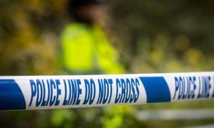Police tape at a uk crime scene