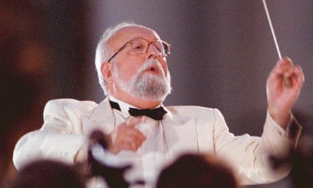 Krzysztof Penderecki conducting his oratorio Seven Gates of Jerusalem at the Winter Palace, St Petersburg, in 2001.