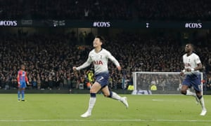 Tottenham's Son Heung-min is celebrates after scoring the club's first goal at their new stadium.