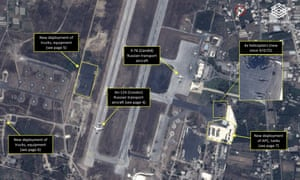 Satellite image from last week shows Russian aircraft and ground vehicles at air base in Latakia, Syria