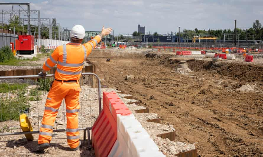 A construction worker at the site of Old Oak Common station in London