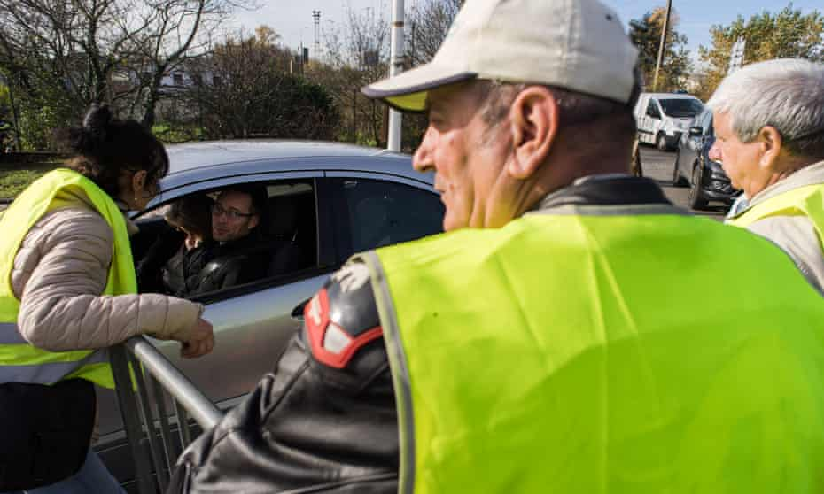 A gilets jaunes roadblock in Toulouse to protest against the lower living standards and purchasing power.