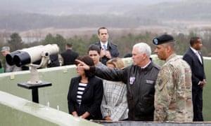 Paju, South Korea: US vice-president Mike Pence points to North Korea