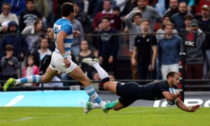 Scrum-half Danny Care goes over for England's third try of the match.