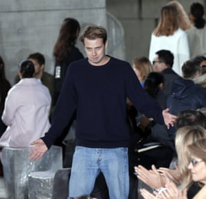 JW Anderson at the end of Loewe ready-to-wear show in Paris.