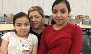 Melanie De La Rosa with her daughters Gaby, left, and Secali, at a shelter in Houston.