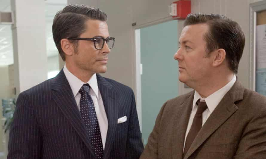 Rob Lowe and Ricky Gervais looking each other in the eye in The Invention of Lying.