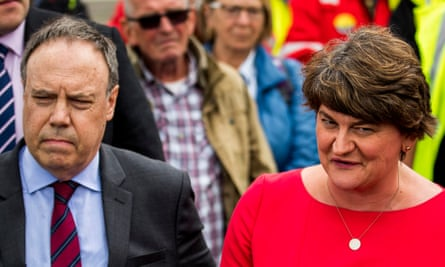 DUP leader Arlene Foster, right, pictured with the party's deputy leader Nigel Dodds
