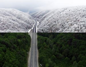The West Blacksea region road between the provinces of Duzce and Zonguldak