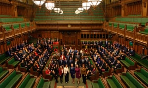 Newly-elected MPs posing for a photograph in the Commons chamber yesterday.