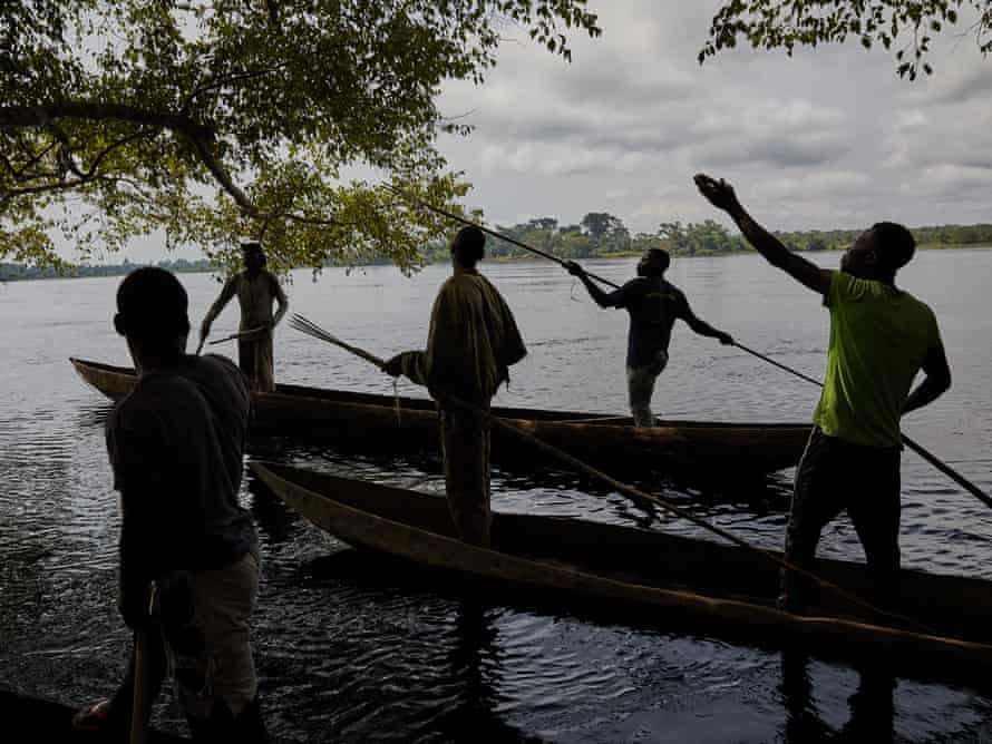The fisherman of Eala village, led by Patrick Atelo, hunt for a mamba on the river Ruki