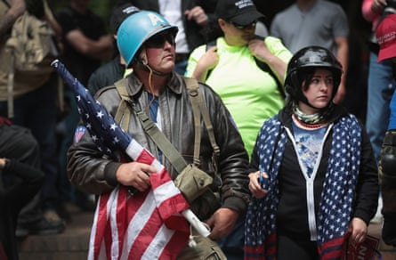 Pro-Trump demonstrators in Portland, Oregon.