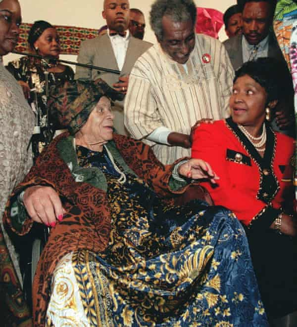 Audley 'Queen Mother' Moore in April 1996, pictured with Winnie Madikizela-Mandela, right, and the activist Kwame Toure, centre.