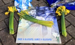 Tributes left outside Cardiff City Stadium for Emiliano Sala.