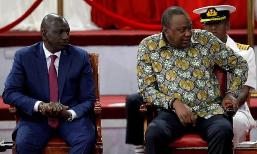 Kenya's President Uhuru Kenyatta, right, and his deputy, William Ruto, at the launch of the building bridges initiative. Ruto has since come out against the plan, straining relations between the two.