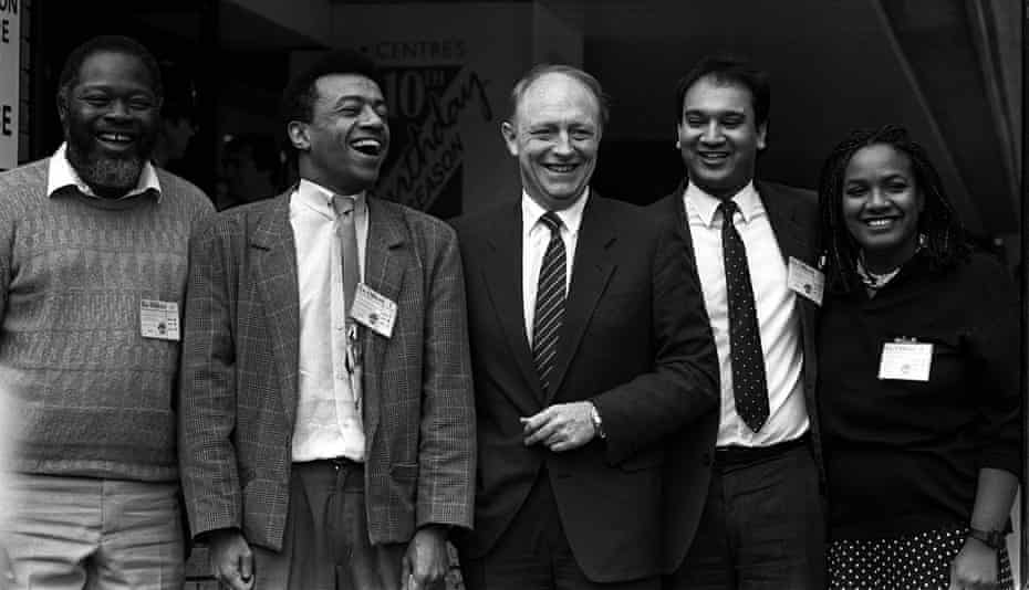 The first four MPs of colour – Bernie Grant, Paul Boateng, Keith Vaz and Abbott – with the Labour leader, Neil Kinnock, in 1987