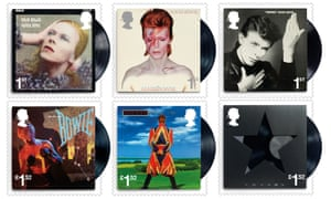 Six of the 10 stamps the Royal Mail is issuing as a tribute to David Bowie.