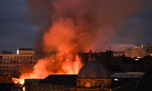 Smoke pours from the roof of the Glasgow School of Art