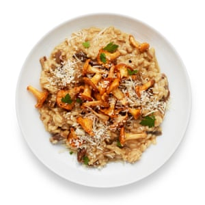 Felicity Cloake's mushroom risotto is topped with fresh chanterelles, but you could make it with dried porcini alone.
