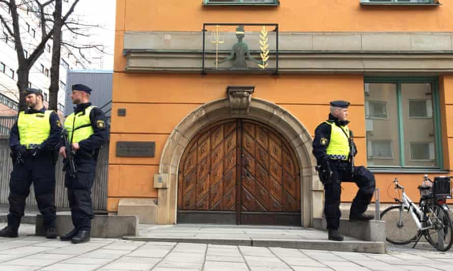Officers guard Stockholm district court