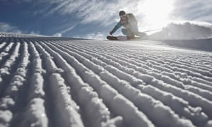 Going downhill fast on groomed snow at Chandolin,.