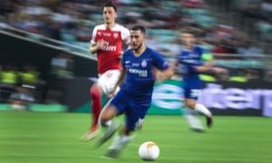 Eden Hazard on the ball during the Europa League final.