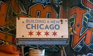 """A billboard promoting """"a new Chicago"""" is found under a Lake Shore Drive overpass as viewed on October 10, 2015"""