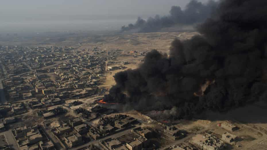 Burning oil wells in Qayyarah, Iraq, lit ablaze by Isis members before their retreat.