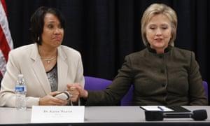 Hillary Clinton with Flint Mayor Karen Weaver.