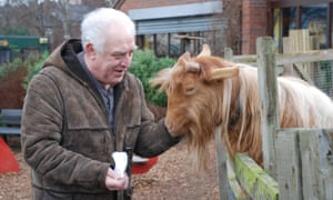 A man strokes a brown long-haired goat that stands against a fence to greet him