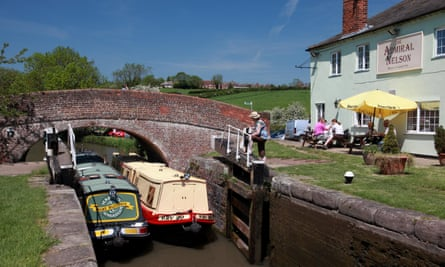 Lock stock … narrowboats on the Grand Union Canal by the Admiral Nelson pub at Braunston.