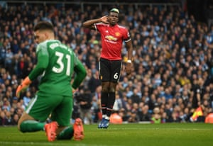 Paul Pogba celebrates scoring United second equaliser, just two minutes after hi first as United beat City 3-2 at halt City's quest to be crowned Premier League champions.