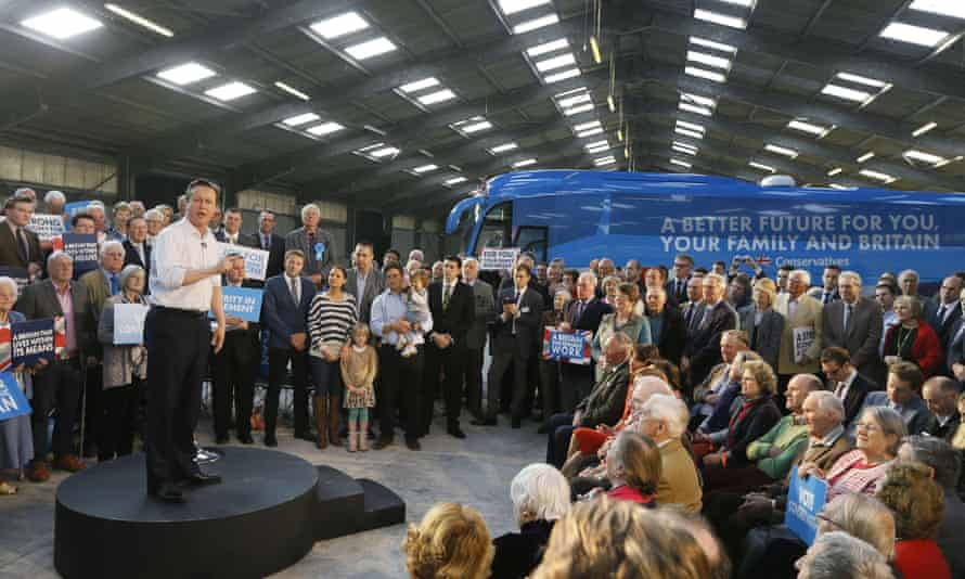 David Cameron speaks during a Conservative Party rally at The Royal Cornwall Show ground.