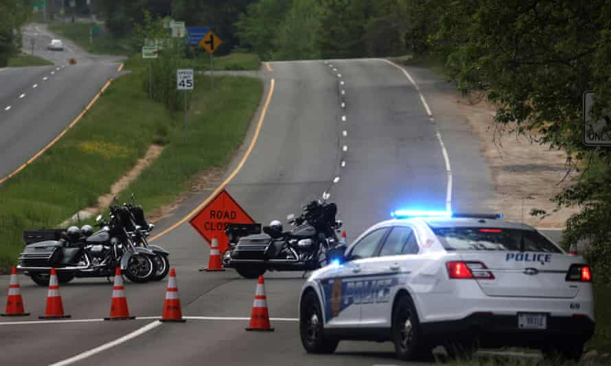 Dolley Madison Boulevard was blocked off by law enforcement in response to a security-related situation outside of the secure perimeter near the main gate of CIA headquarters in McLean, Virginia, on 3 May 2021.