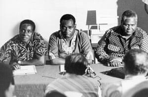Robert Mugabe with Georges Silundika and Joshua Nkomo at a meeting in Dar es Salaam, Tanzania in the 1960s