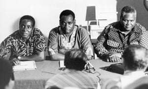 Then a leader of Rhodesian fighters, Robert Mugabe attends a meeting in Dar es Salaam in Tanzania, with George Silundika, deputy secretary of information in the African National Congress, and Joshua Nkomo, the leader of the Zapu party