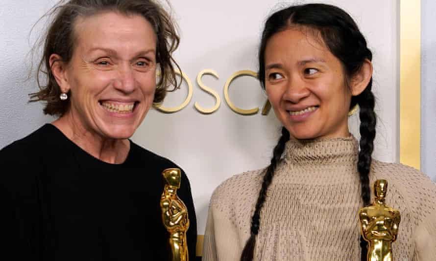Wonderful coup … Frances McDormand and Chloé Zhao with their Oscars.