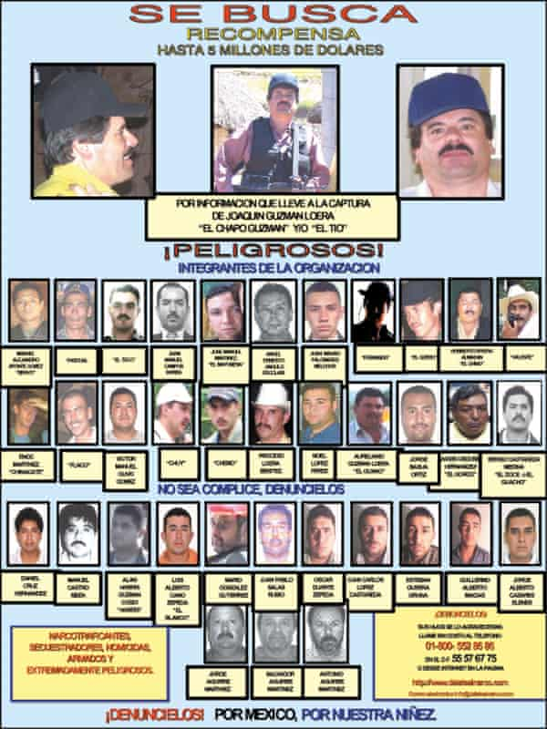 """Joaquin """"El Chapo"""" Guzmán, once one of Mexico's most powerful drug lords, and 36 of his associates."""