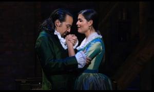 Lin-Manuel Miranda and Phillipa Soo in Hamilton.