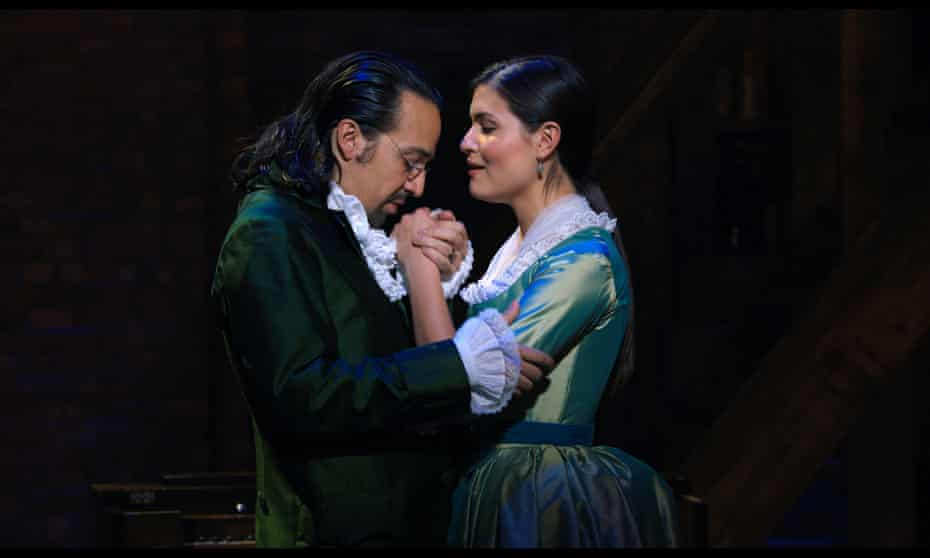 Lin-Manuel Miranda and Phillipa Soo in Hamilton.