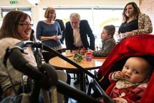 The Labour leader, Jeremy Corbyn, during a visit to a cafe on 5 April in Harlow, Essex