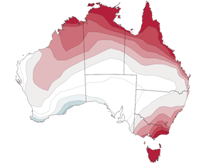 The chance of above median maximum temperatures in Australia from September to November 2017.