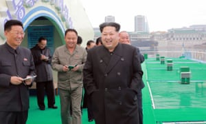 North Korean leader Kim Jong-Un visits a fish-breeding site set up on the river Taedong, which flows through the centre of Pyongyang in an undated photo released by North Korea on Thursday.